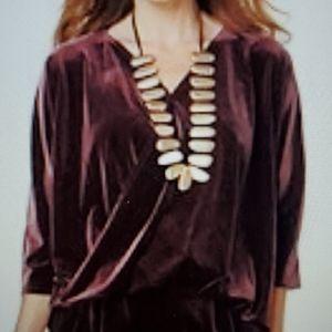 Marla Wynne BLACK Stretch velvet twist top